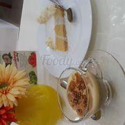 coconut cheesecake and  chai latte