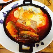 Chảo cá mòi trứng patee 35k