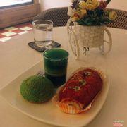 Pudding trà xanh - su trà xanh - bánh mì phô mai cay