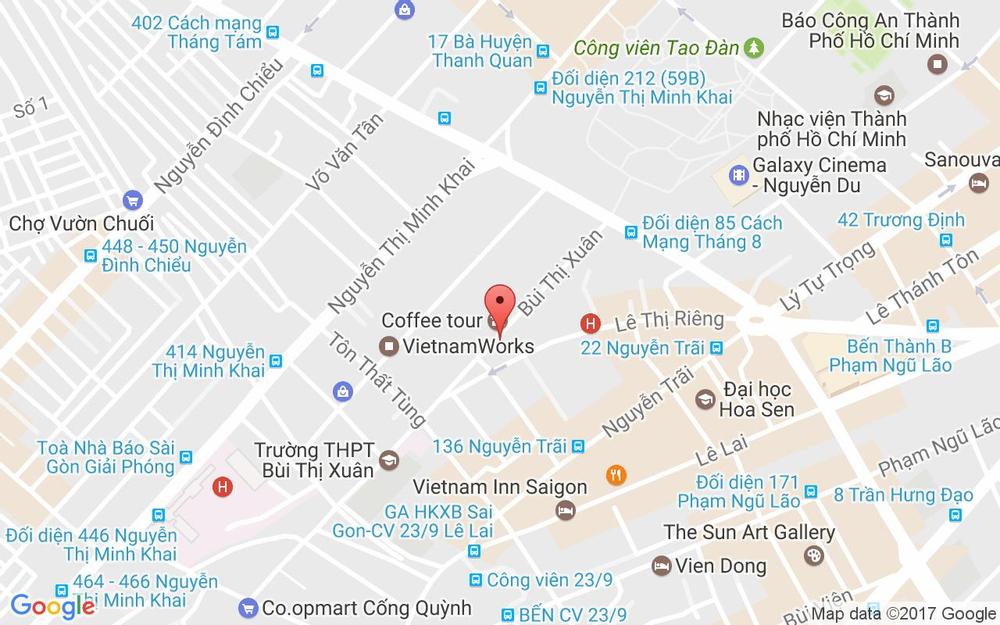 Vị trí bản đồ 45 Bùi Thị Xuân - P.  Bến Thành Quận 1 TP. HCM