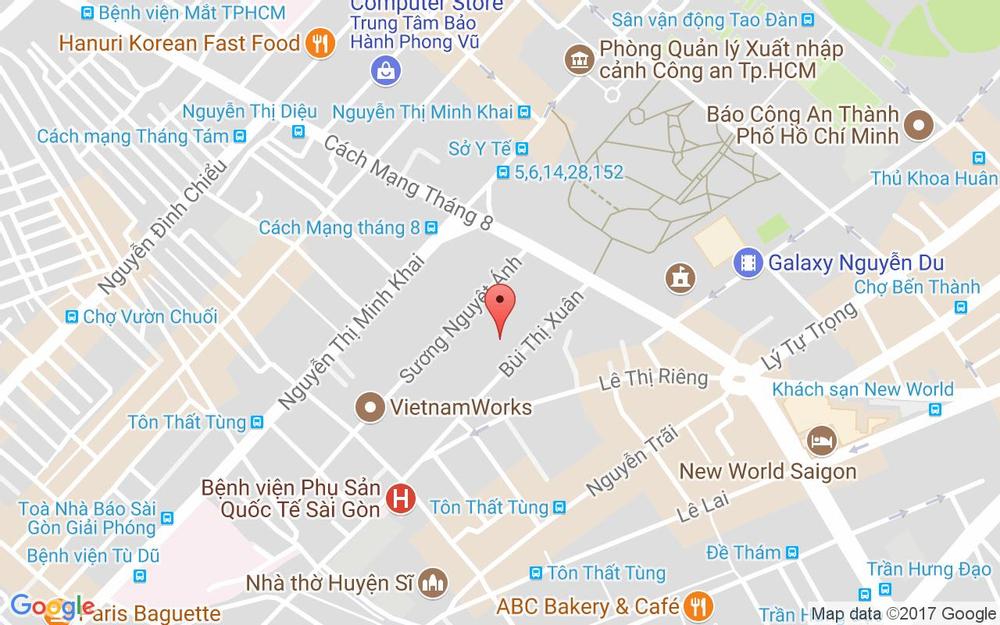 Vị trí bản đồ 38 Bùi Thị Xuân, P. Bến Thành Quận 1 TP. HCM