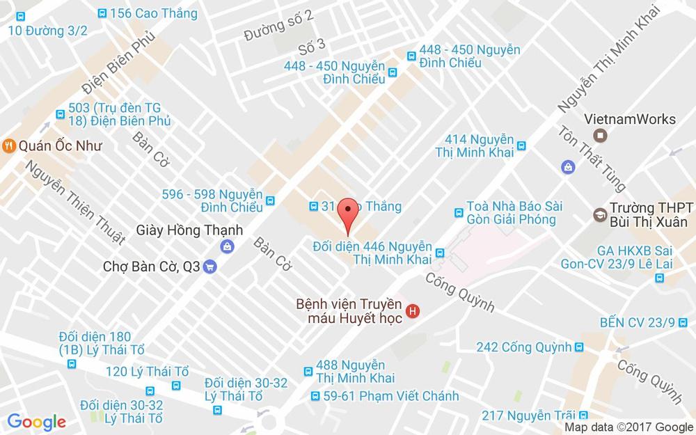 Vị trí bản đồ 17 Cao Thắng, P. 2 Quận 3 TP. HCM