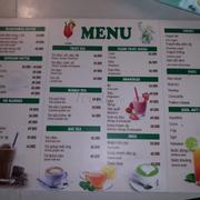Sept 2018 menu
