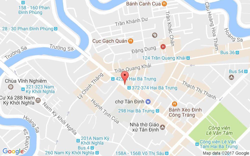 Vị trí bản đồ 380B Hai Bà Trưng, P. Tân Định Quận 1 TP. HCM