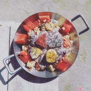 Mixed fruit with blueberry yoghurt parfait