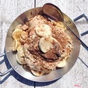 Banana, peanut butter, muesli, cocoa & chia seed parfait