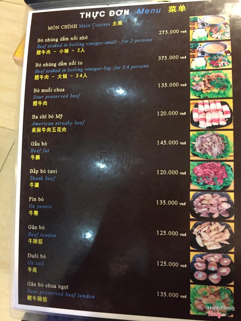 Thực đơn với 3 thứ tiếng Anh - Việt - Trung