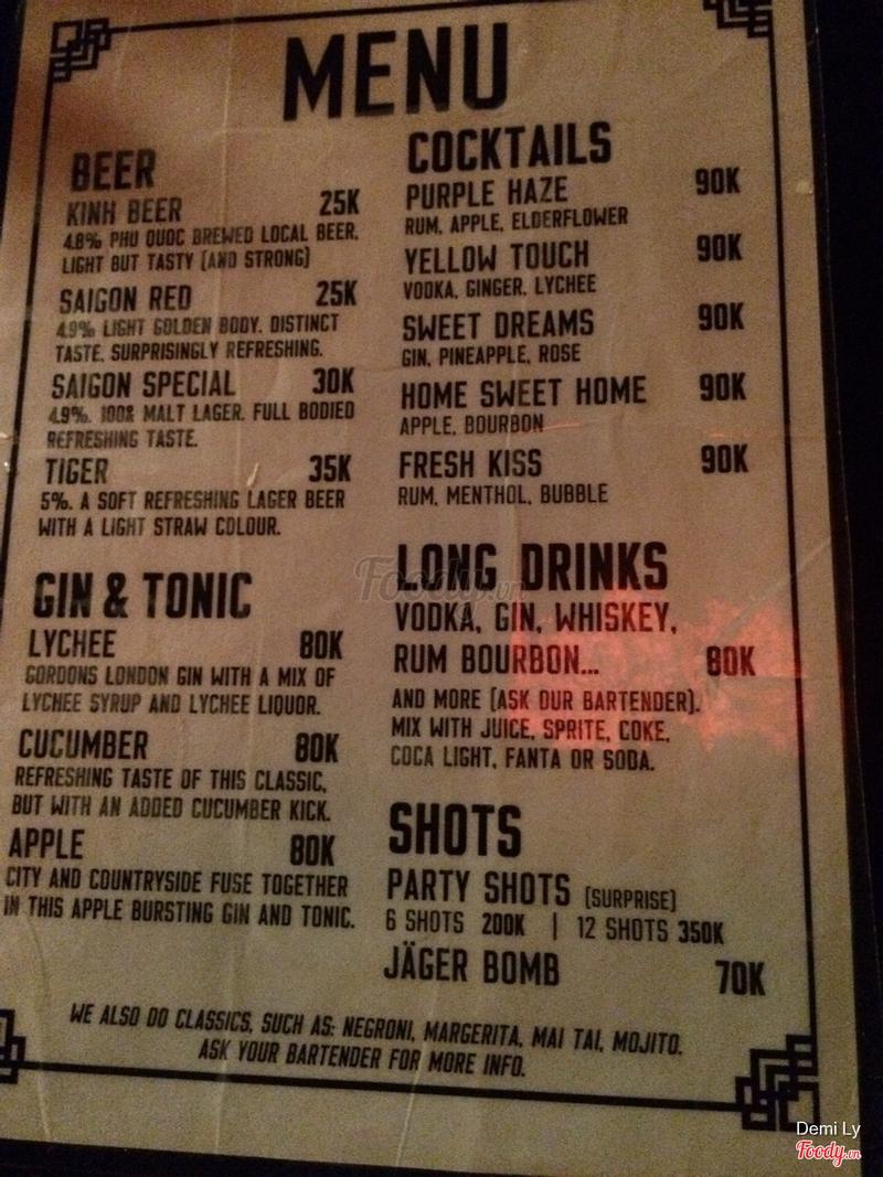 Menu rượu cho các bạn muốn quẩy ,😂 giá rẻ bèo !