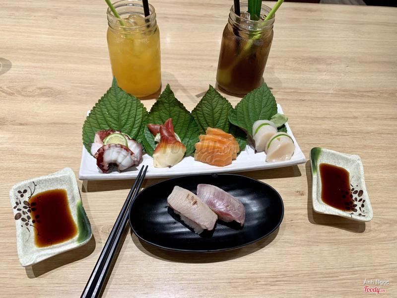 Ép cam, xâm mía lau - Bạch tuộc - sò đỏ - cá hồi - sò điệp - sushi cá hồi tái 👎🏻👎🏻