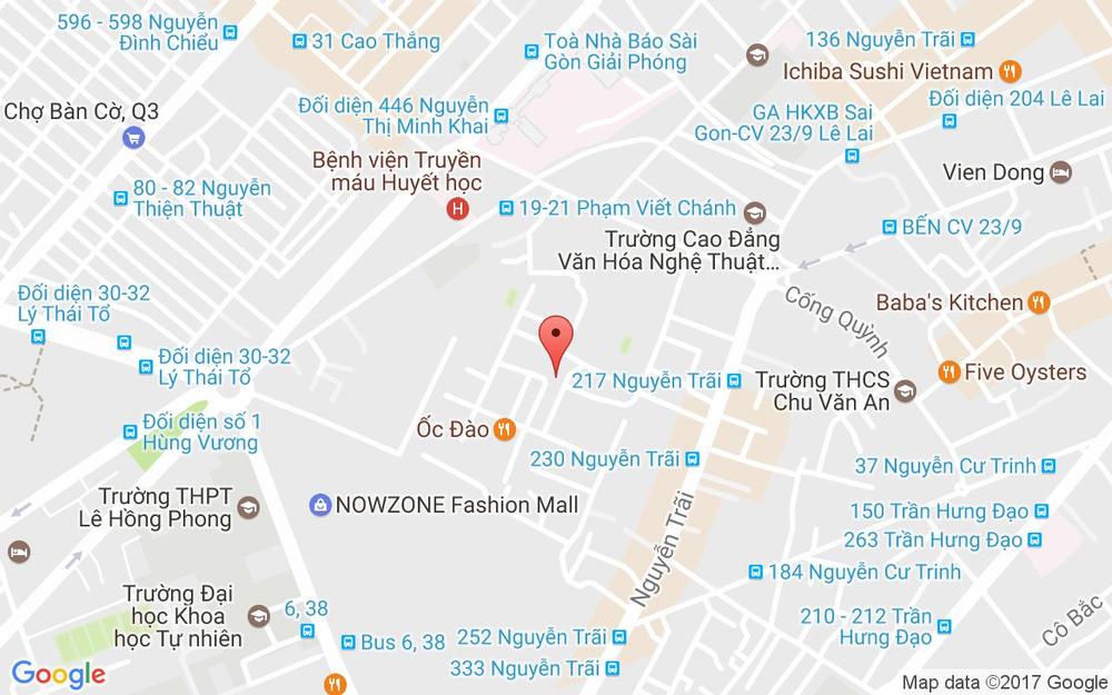 Vị trí bản đồ 212B/D11 Nguyễn Trãi, P. Nguyễn Cư Trinh Quận 1 TP. HCM