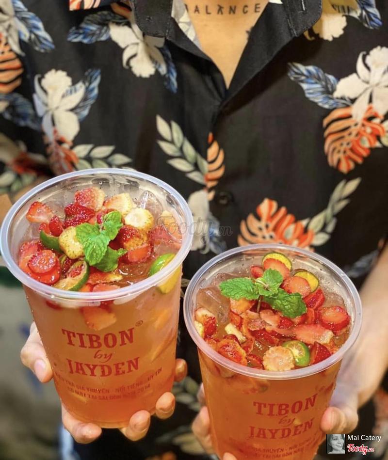 Ly trà dâu được Tibon đăng facebook và quảng cáo