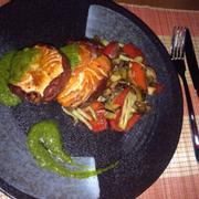 Salmon tournedos , roll in serrano ham