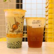 Trà sữa trà xanh + macchiato hồng trà
