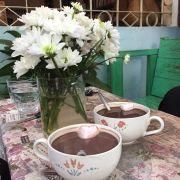 Cacao nóng pha vị khá đậm.