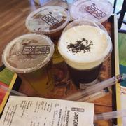 Hồng trà kem sữa + trà phúc bồn tử+ xí muội