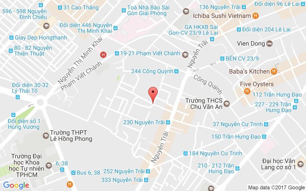 Vị trí bản đồ Hẻm 212B Nguyễn Trãi, P. Nguyễn Cư Trinh Quận 1 TP. HCM