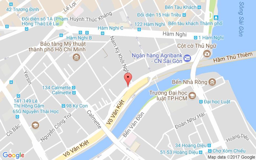 Vị trí bản đồ 100 Võ Văn Kiệt, P. Nguyễn Thái Bình Quận 1 TP. HCM