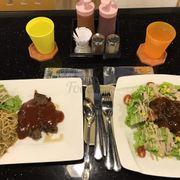 BBQ beefsteak n Salmon salad with BBQ sauce