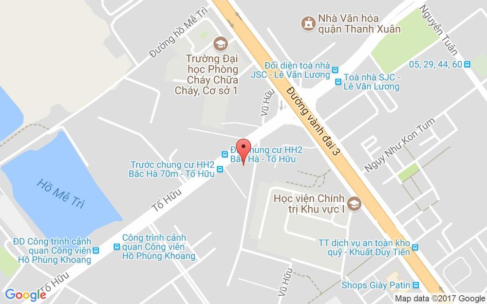 Vị trí bản đồ P1212 Tòa Nhà HH2 Bắc Hà, Tố Hữu Quận Thanh Xuân Hà Nội
