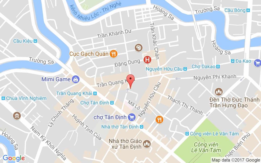 Vị trí bản đồ 17 Bà Lê Chân, P. Tân Định Quận 1 TP. HCM