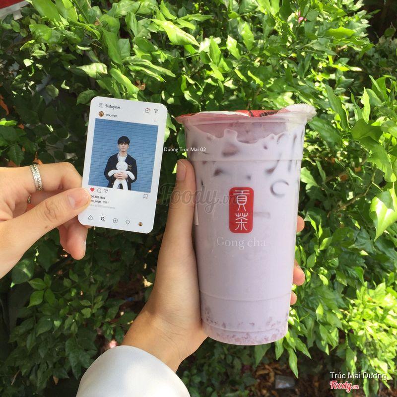 With Ong Seong Wu ( Wanna One ): Trà sữa khoai môn Size L + Trân châu trắng ( Sugar 70% - Regular Ice )