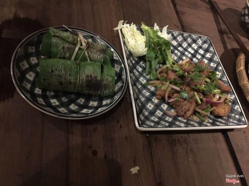 Thịt heo trộn thính + cơm nướng