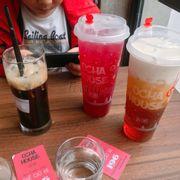 Cafe đen ,trà trái cây dâu cam ,trà olong kem sữa