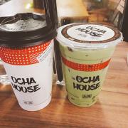 Trà đào macchiato + trà sữa trà xanh