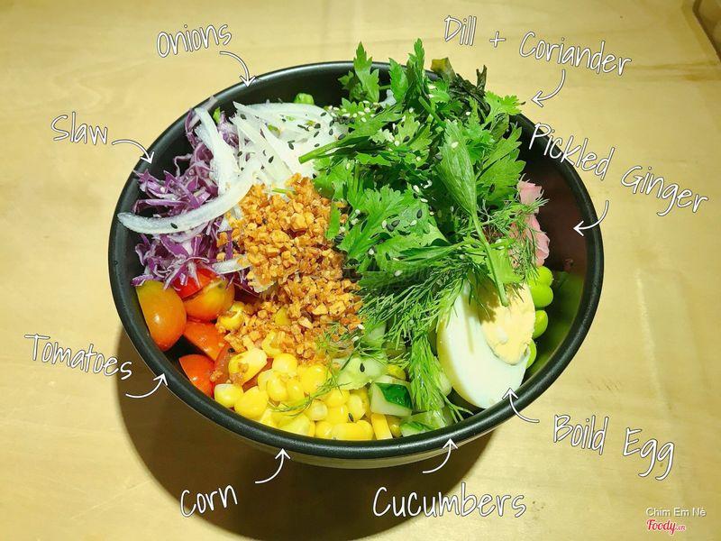 Tô 2 scoop tuna+salmon+all rau trừ dưa hấu và rong biển