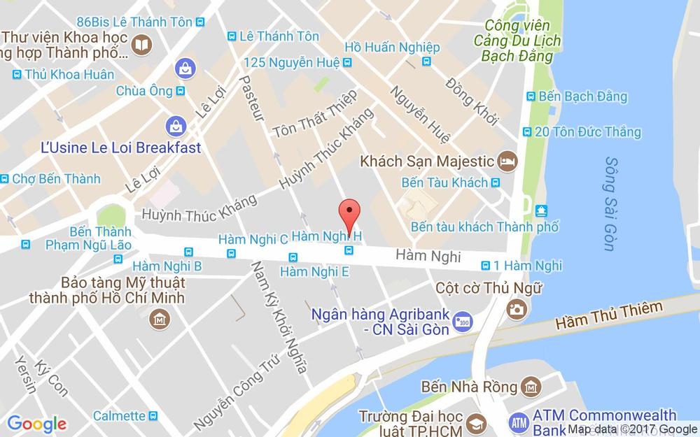 Vị trí bản đồ 82-84 Hàm Nghi, P. Bến Nghé Quận 1 TP. HCM