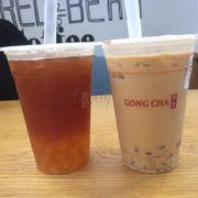 Trà sữa hokkaido & trà đen đào