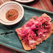 parma ham bruschetta with balsamic reduction and homemade compote