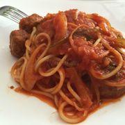 Spaghetti & Meatballs, strong green bell pepper taste (bitter/dry tasting of the pepper).