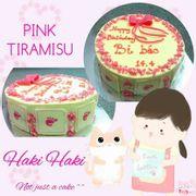 17 - Tiramisu - trang trí chocolate hồng - đường kính 16cm - 300k