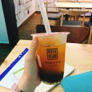 Lục trà đào + Trân châu đen
