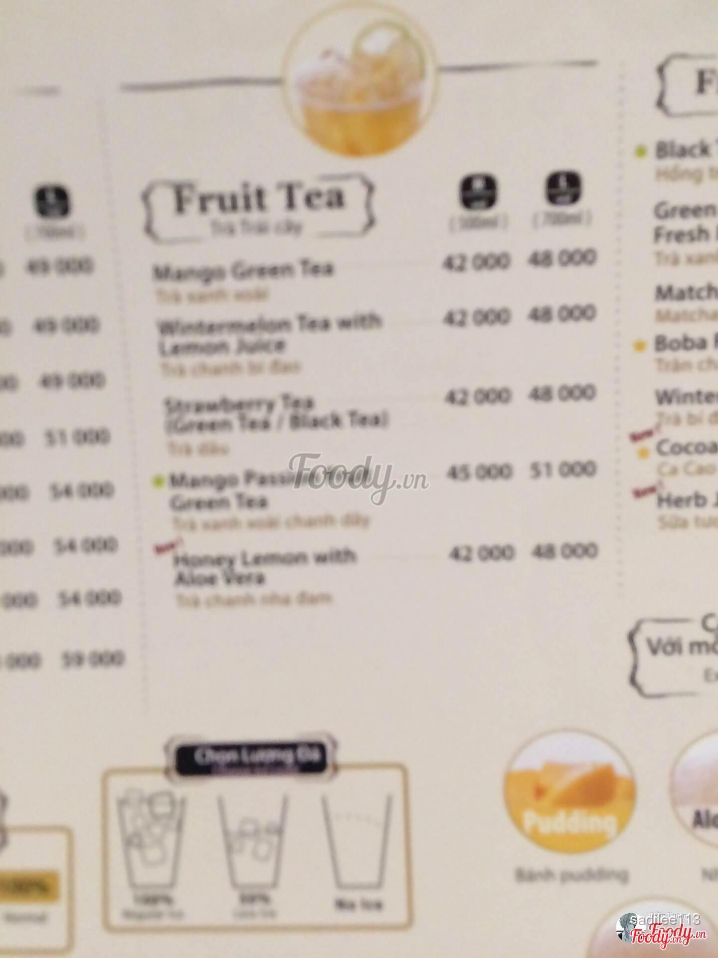 trà sữa sharetea - nguyễn hữu huân ở quận hoàn kiếm, hà nội | menu