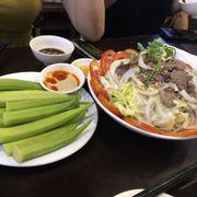 Đậu bắp luộc + salad bò