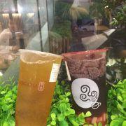 Trà xanh mận+thạch aiyu- Đào hồng mận hạt é+thạch trái cây