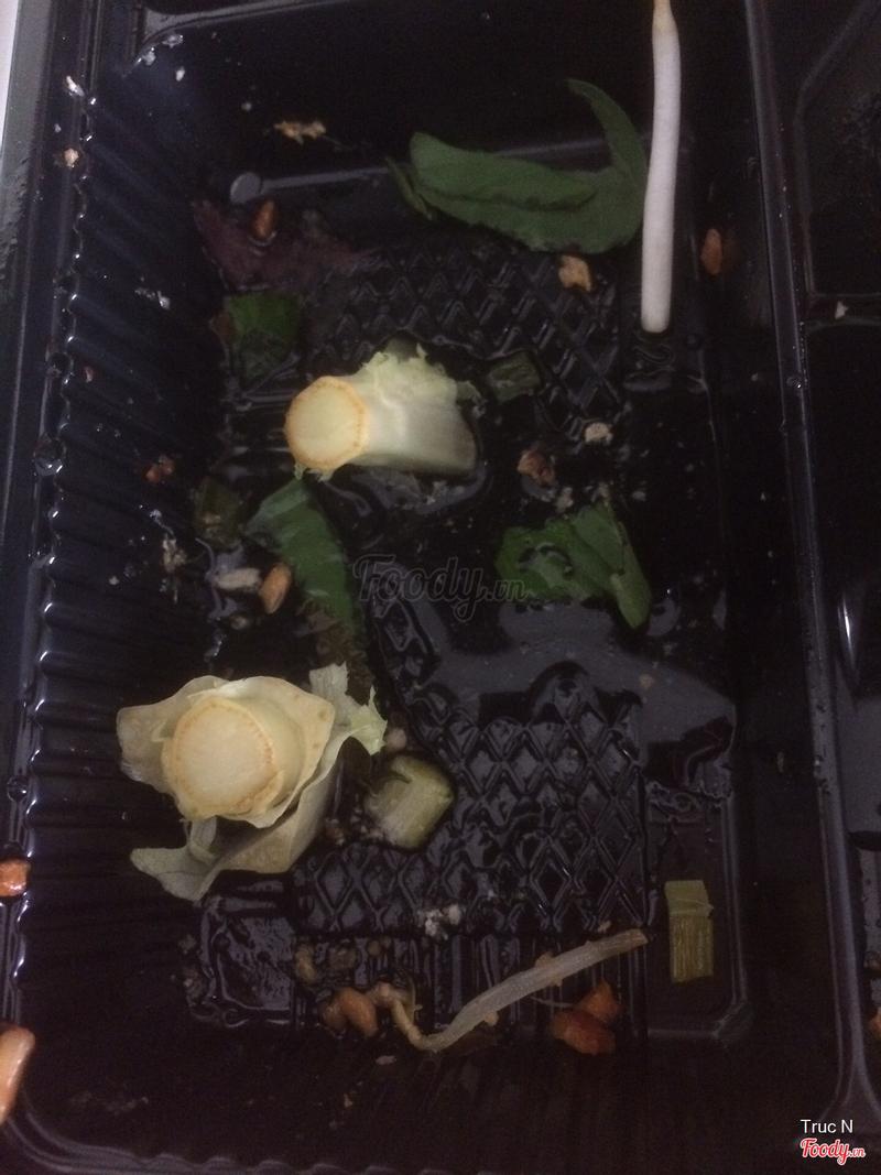 2 cái cùi trong phần salad. Quán ko có thùng rác để giục sao?