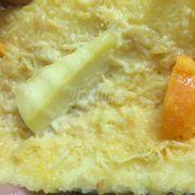 Phần phomai quắt lại. Trứng muối cũng thế.  Nhìn chỗ chảy chảy ra thế kia dám ăn k