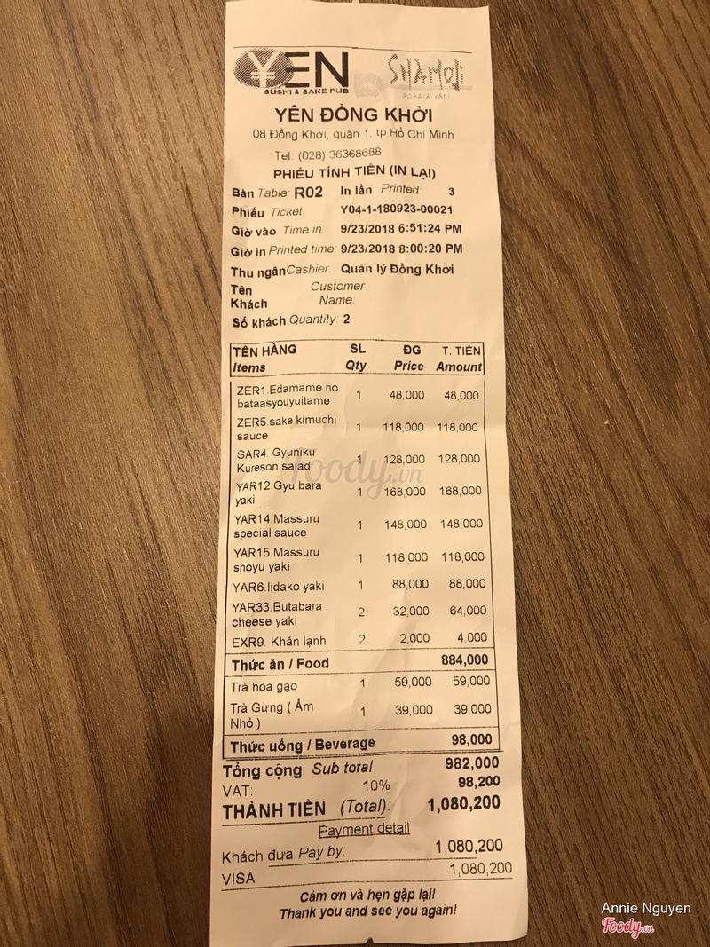 Đây là bill của mình, cho thấy rõ ràng không được giảm giá.
