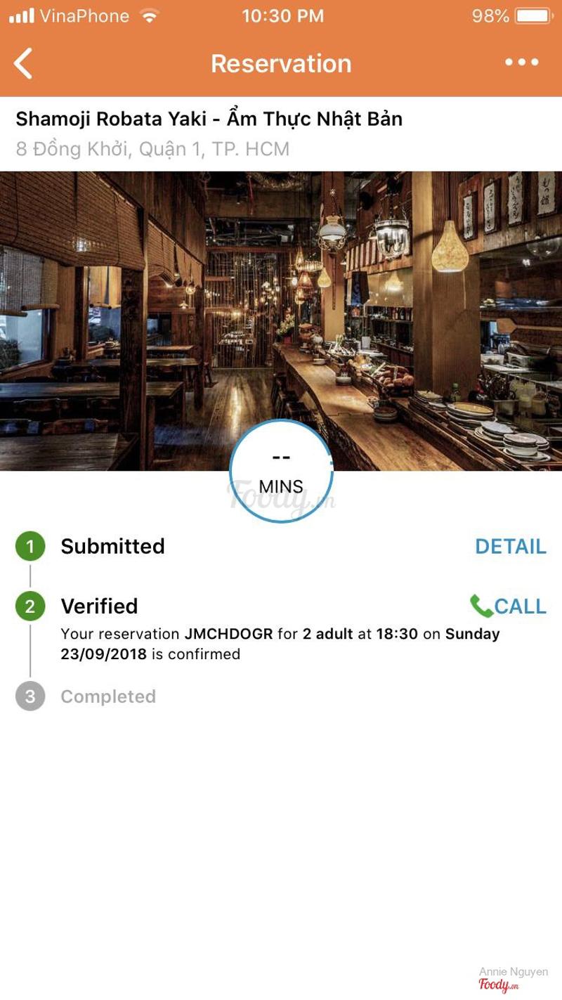 Đây là xác nhận đặt bàn của mình qua Table Now, đến giờ vẫn không complete, vì nhà hàng này không nhập vào hệ thống, không giảm giá cho mình.