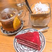 cf kem dừa. trà cam quế. bánh red velvet