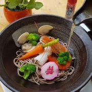 Mì soba hải sản. Với nước súp miso từ đậu nàn lên men theo công nghệ nhật bản.