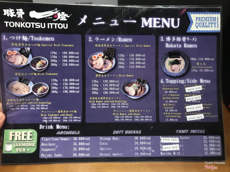 Ittou Ramen - Oishi Town ở Quận 2, TP  HCM | Album thực đơn | Ittou