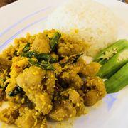 M17. Salted egg diced chicken with Rice (Cơm gà xào trứng muối)