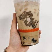 Trà sữa Houjicha + khoai dẻo