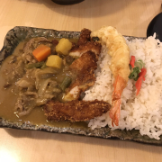Japanese Curry with pork, beaf and shrinp templa