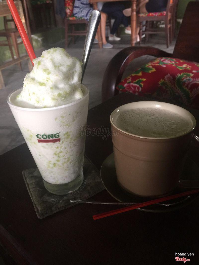 Cốm cốt dừa và trà sữa gừng nóng