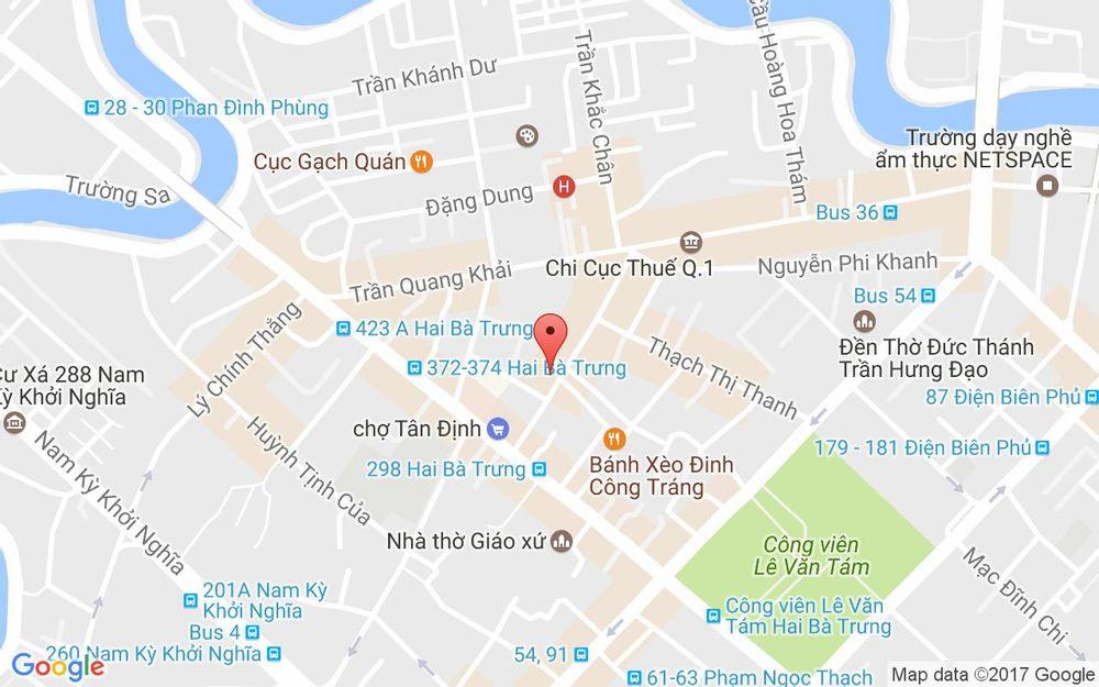 Vị trí bản đồ 97 - 99 Nguyễn Hữu Cầu, P. Tân Định Quận 1 TP. HCM